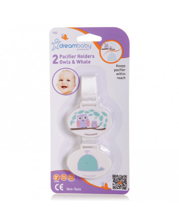 OWL AND WHALE PACIFIER HOLDER 2 PACK