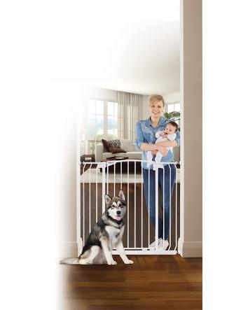ZOE EXTRA-TALL & EXTRA-WIDE HALLWAY AUTO-CLOSE PET SECURITY GATE- WHITE