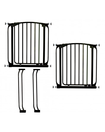 CHELSEA BLACK SAFETY GATE & EXTENSION SET (2 GATES 2 EXTENSIONS)