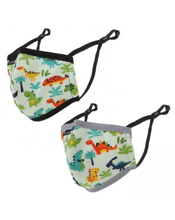 REUSABLE FACE MASKS 2PK - CHILD - DINOSAUR PATTERN